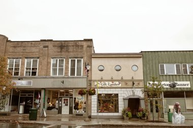 Bennington, Vermont - October 1st, 2019:  Small shops and restaurants on a cold Fall day in the historic New England town of Bennington.