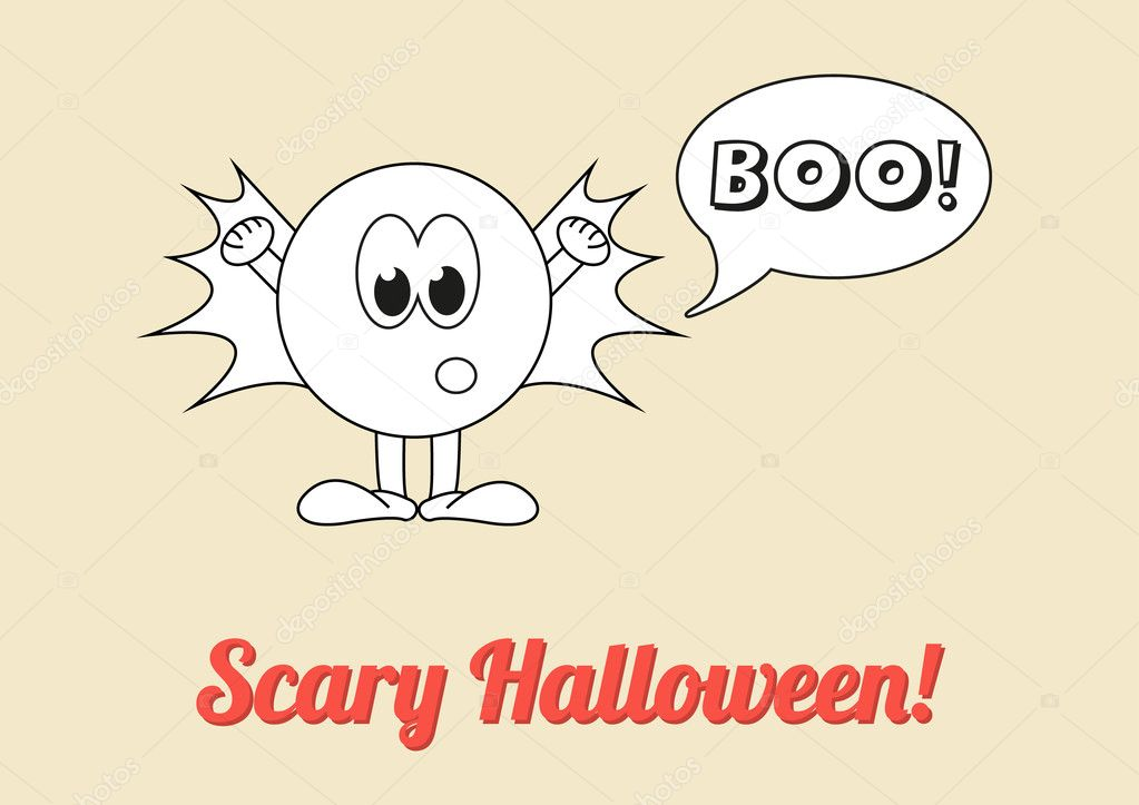 Beautiful Seasonal Poster   Scary Halloween With White Ghost Saying Boo! U2014 Stock  Vector