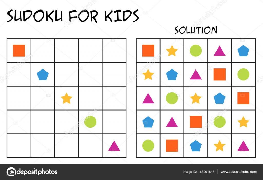 Sudoku für Kinder mit Lösung, geometrischen Formen — Stockvektor ...