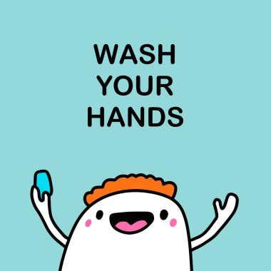 Wash your hands vector illustration in cartoon comic style man holding peace of soap hygiene while infection coronavirus covid-19