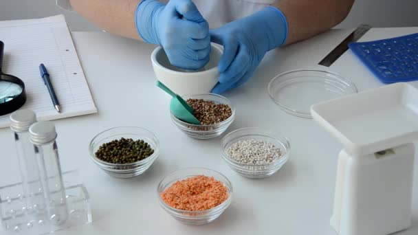 Buckwheat is  ground in food lab