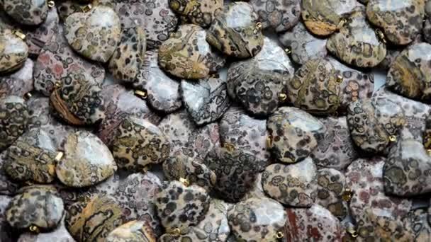 Piccolo a forma di anello Diaspro leopardo pelle cuori girare intorno
