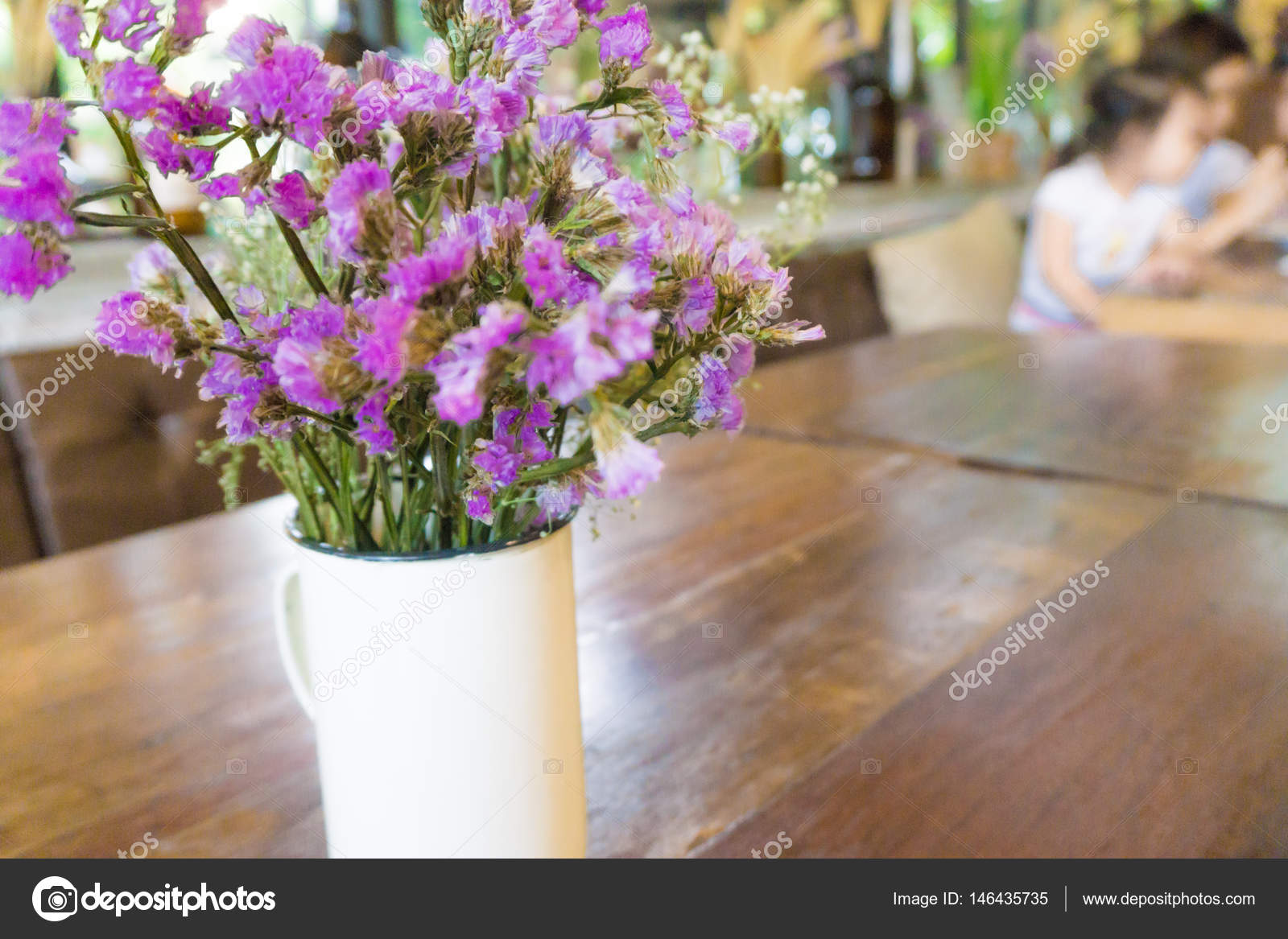 Rustic Beautiful Flower Bouquet Cafe Wood Table — Stock Photo ...