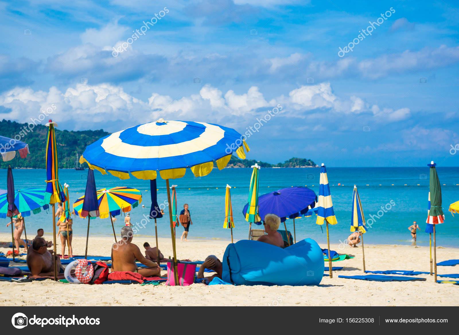 Beach Chair Umbrella Seashore Andaman Phuket Thailand Stock Editorial Photo C Benedixs 156225308
