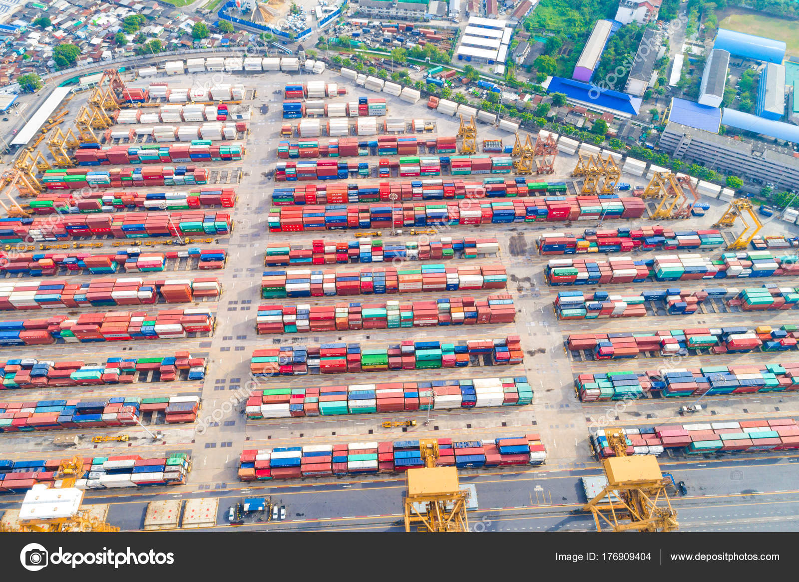 Container Ship Import Export Business Logistic Crane Look
