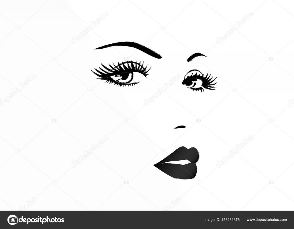 Bello Rostro De Una Ilustración Vectorial De Mujer Blanco