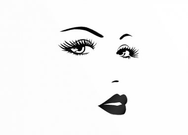Beautiful face of a woman, black and white vector illustration