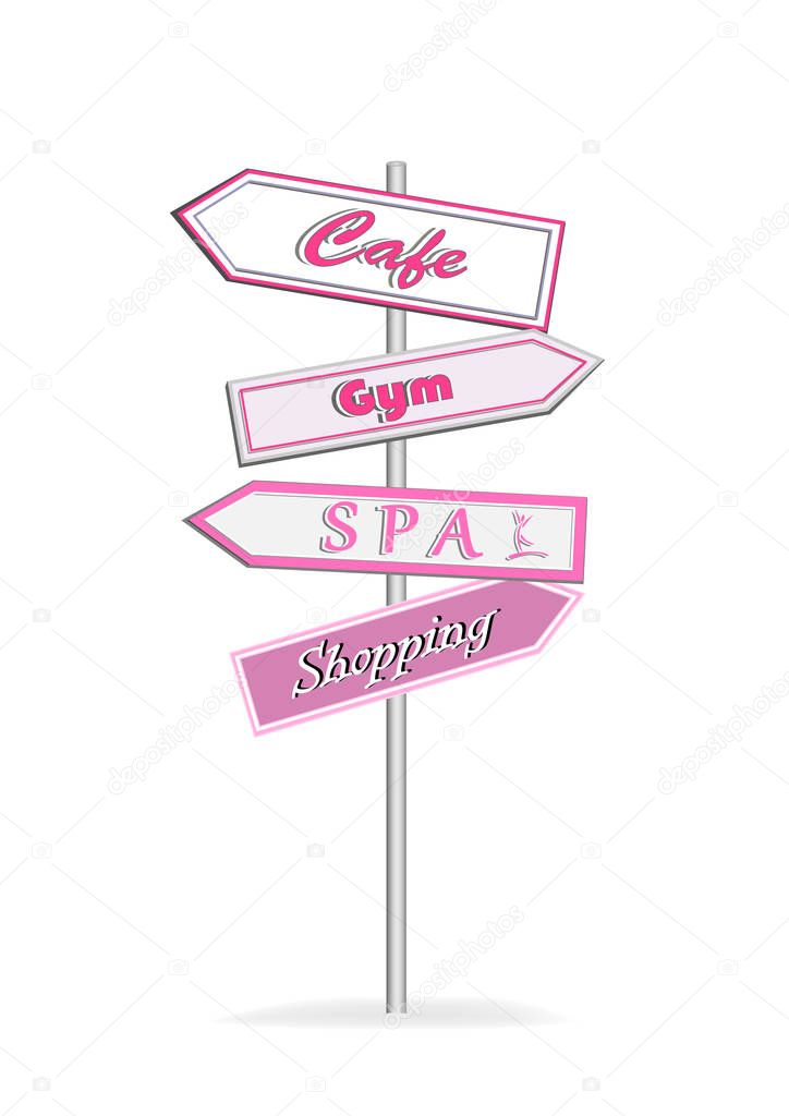 Pink Road Signs Cafe Gym Spa Shopping Isolated On White Background Premium Vector In Adobe Illustrator Ai Ai Format Encapsulated Postscript Eps Eps Format