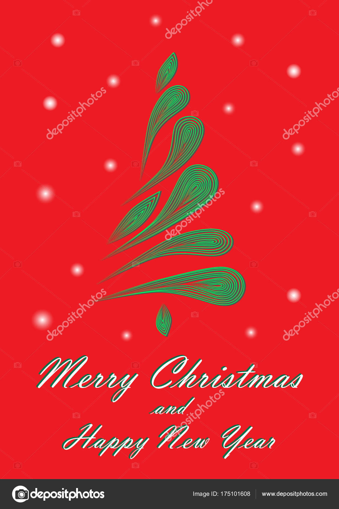 Green Elegant Christmas Tree Red Background Vertical Stock Vector