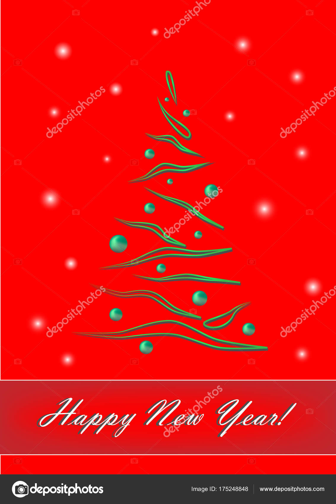 Happy New Year Green Elegant Christmas Tree Red Background Vertical Stock Vector