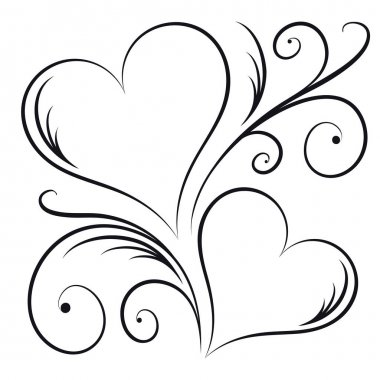 Two Hearts with Swirl Elements