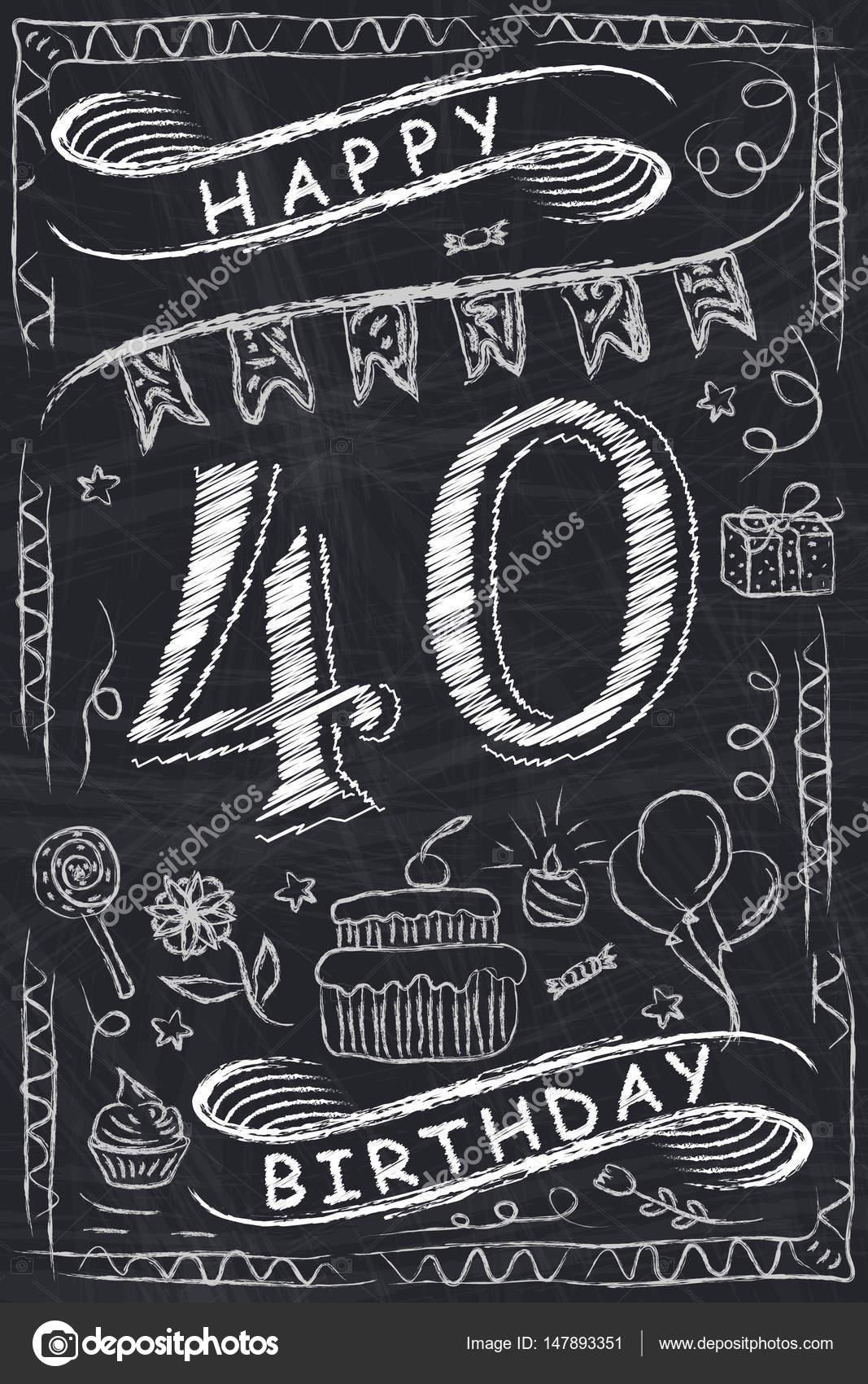 födelsedagskort 40 år Årsdag födelsedagen kort Design på svarta tavlan. 40 år — Stock  födelsedagskort 40 år