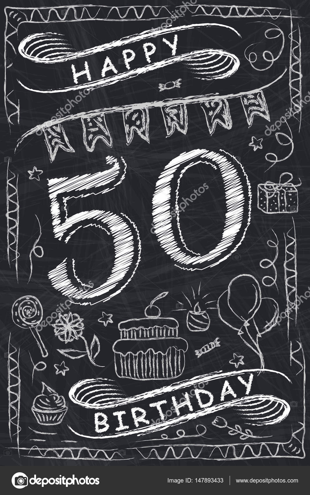 Anniversary Happy Birthday Card Design On Chalkboard 50 Years Stock Illustration
