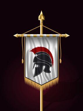 Festive Banner Vertical Flag with Helmet of Warrior. Wall Hangin