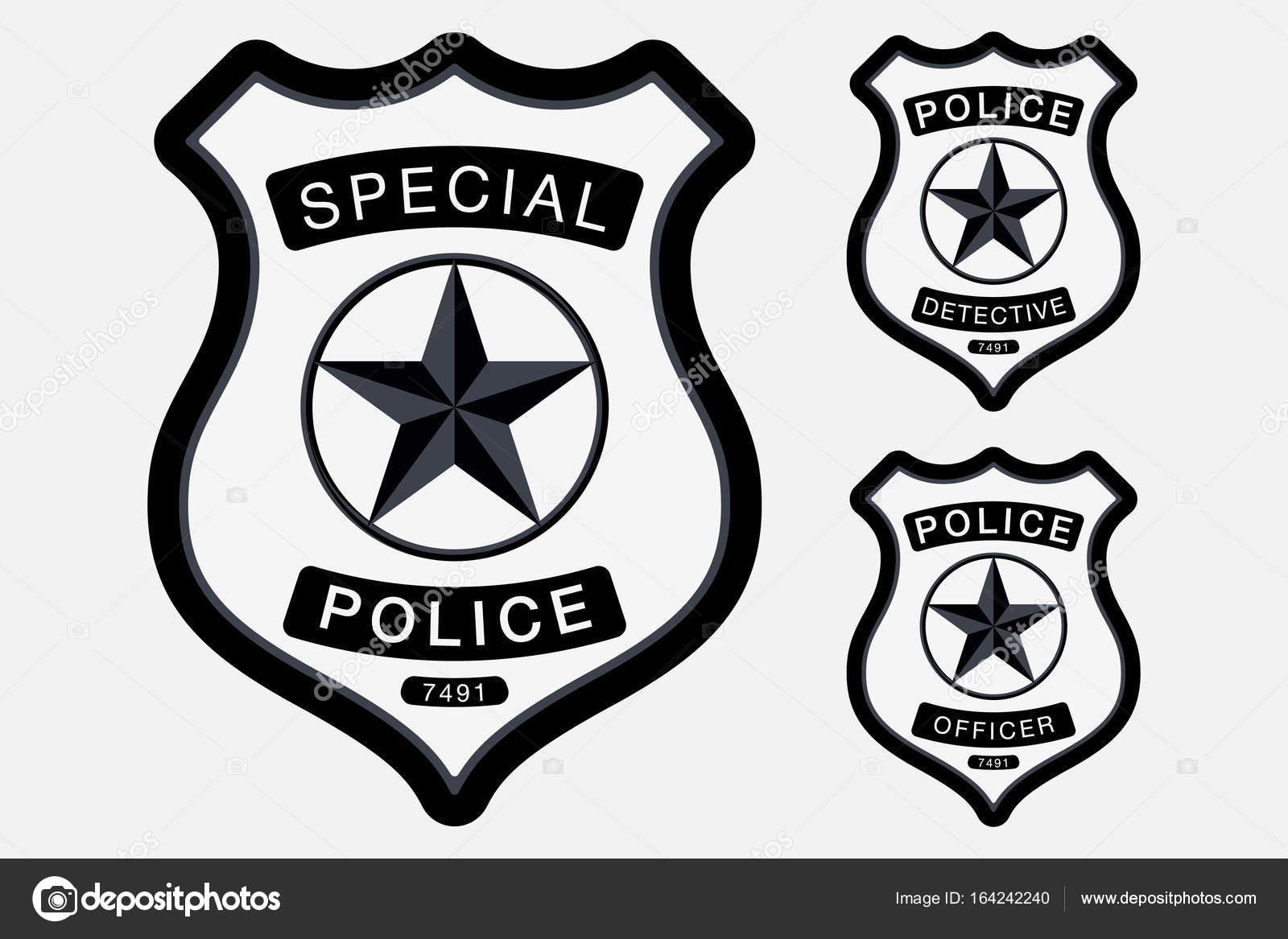 Distintivo De Polícia Simples Sinal Monocromático