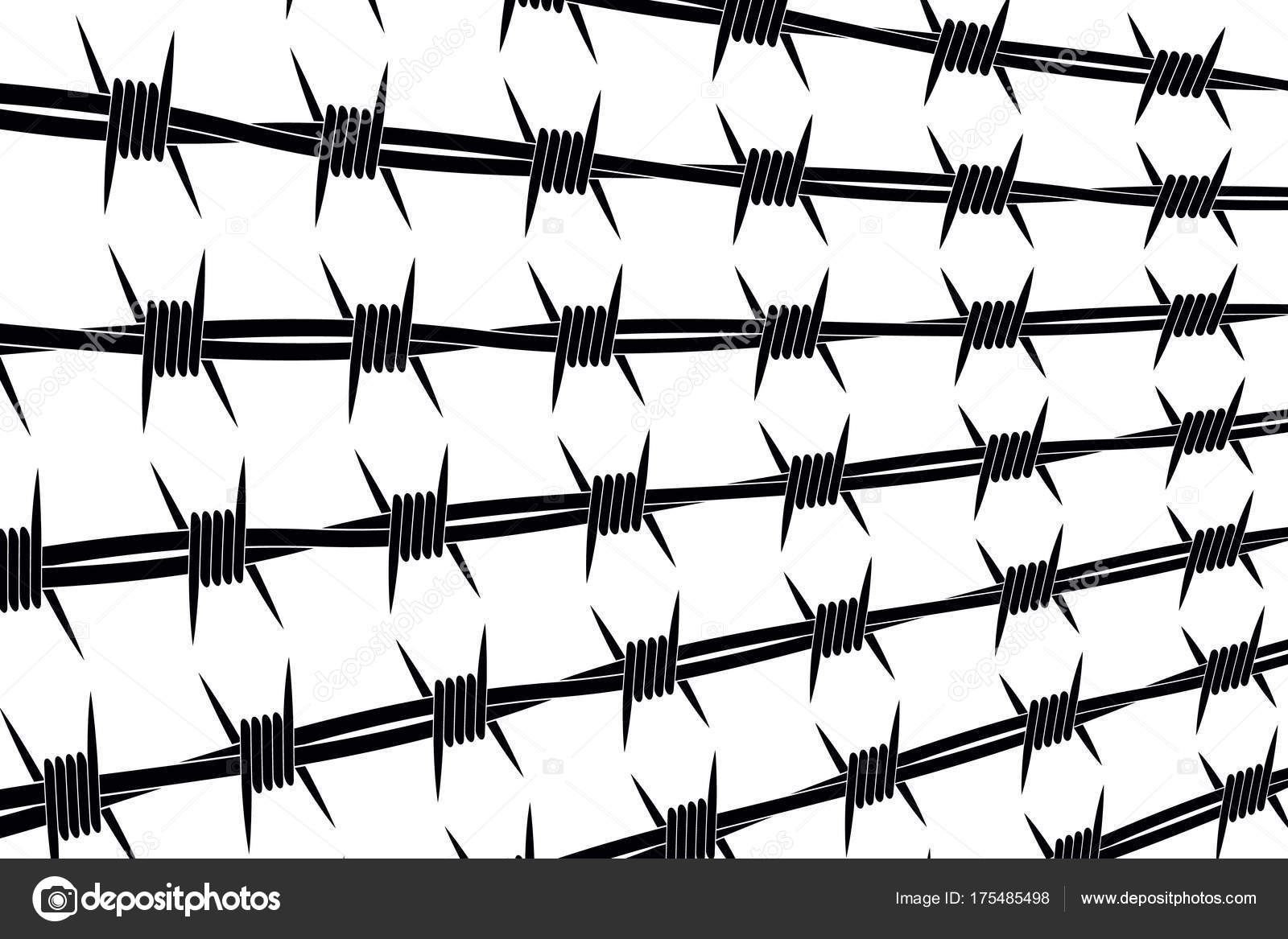 Vector Silhouette of Barbed Wire Lines. Types and Different Vari ...