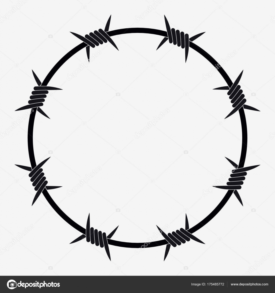 Barbed Wire of Circle Shape — Stock Vector © Simeon.VD #175485772