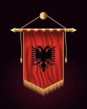 Flag of Albania. Festive Vertical Banner. Wall Hanging