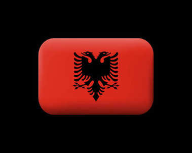 Flag of Albania. Matted Vector Icon and Button. Rounded