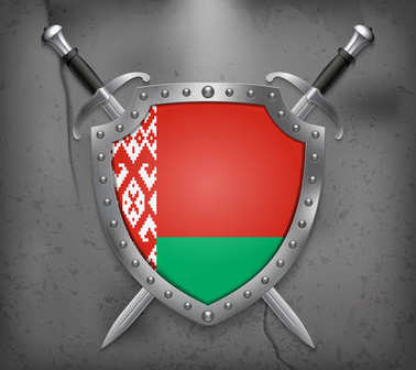 Flag of Belarus. The Shield with National Flag. Two Crossed Swor