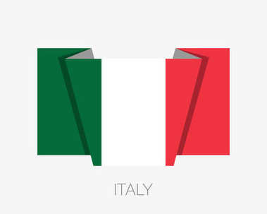 Flag of Italy. Flat Icon Waving Flag with Country Name