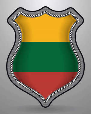 Flag of Lithuania. Vector Badge and Icon