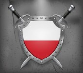 Fotografie Flag of Poland. The Shield with National Flag. Two Crossed Sword