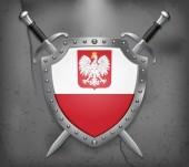 Fényképek Sas Lengyelország zászlaja. A pajzs a nemzeti zászlót. Két Cr