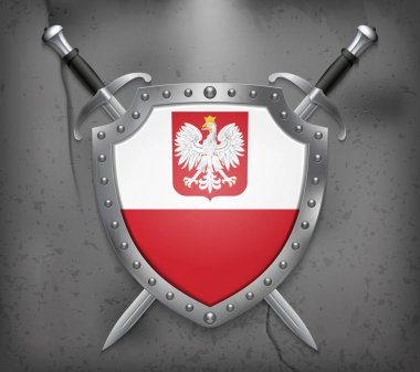 Flag of Poland with Eagle. The Shield with National Flag. Two Cr