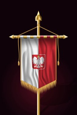 Flag of Poland with Eagle. Festive Vertical Banner. Wall Hanging