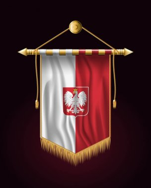 Flag of Poland with Eagle.Festive Vertical Banner. Wall Hangings