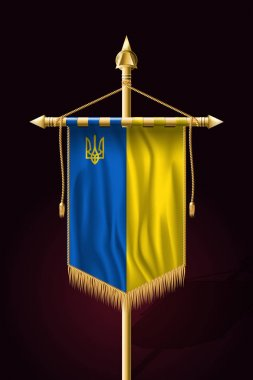 Flag of Ukraine with Trident. Festive Vertical Banner. Wall Hang
