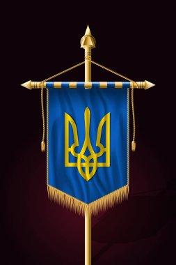 Tryzub. Trident. National Symbols of Ukraine. Festive Vertical B