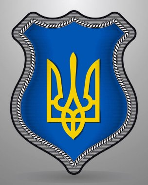Tryzub. Trident. National Symbols of Ukraine. Vector Badge and I