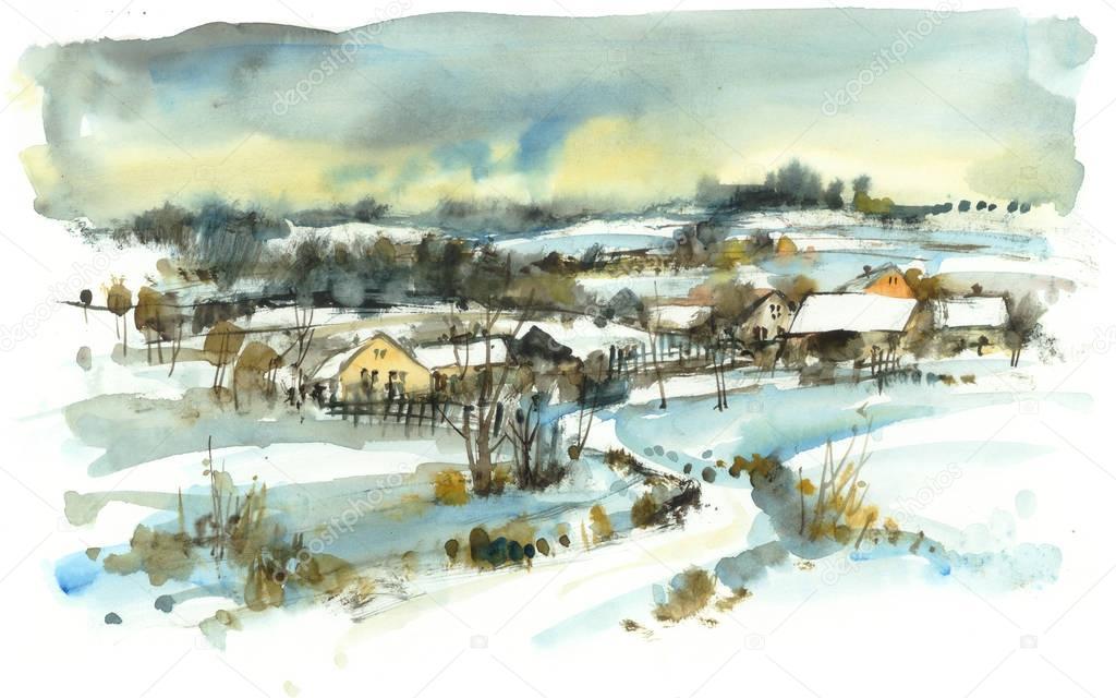 Winter landscape, watercolor illustration