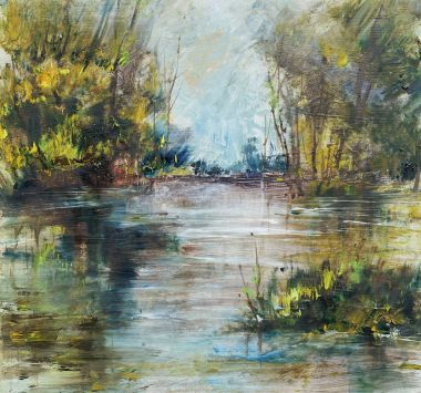 Trees near the lake, oil painting