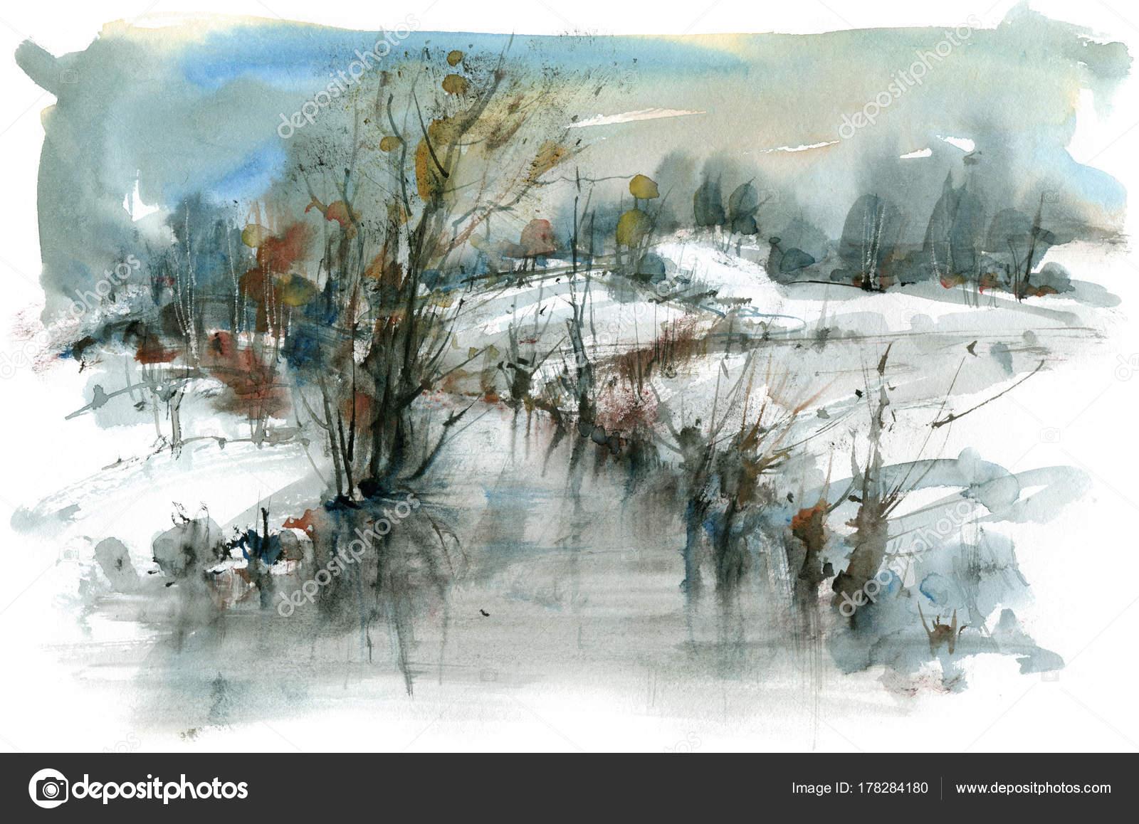 Imagenes Paisajes En Acuarela Paisaje Invernal Con La Corriente