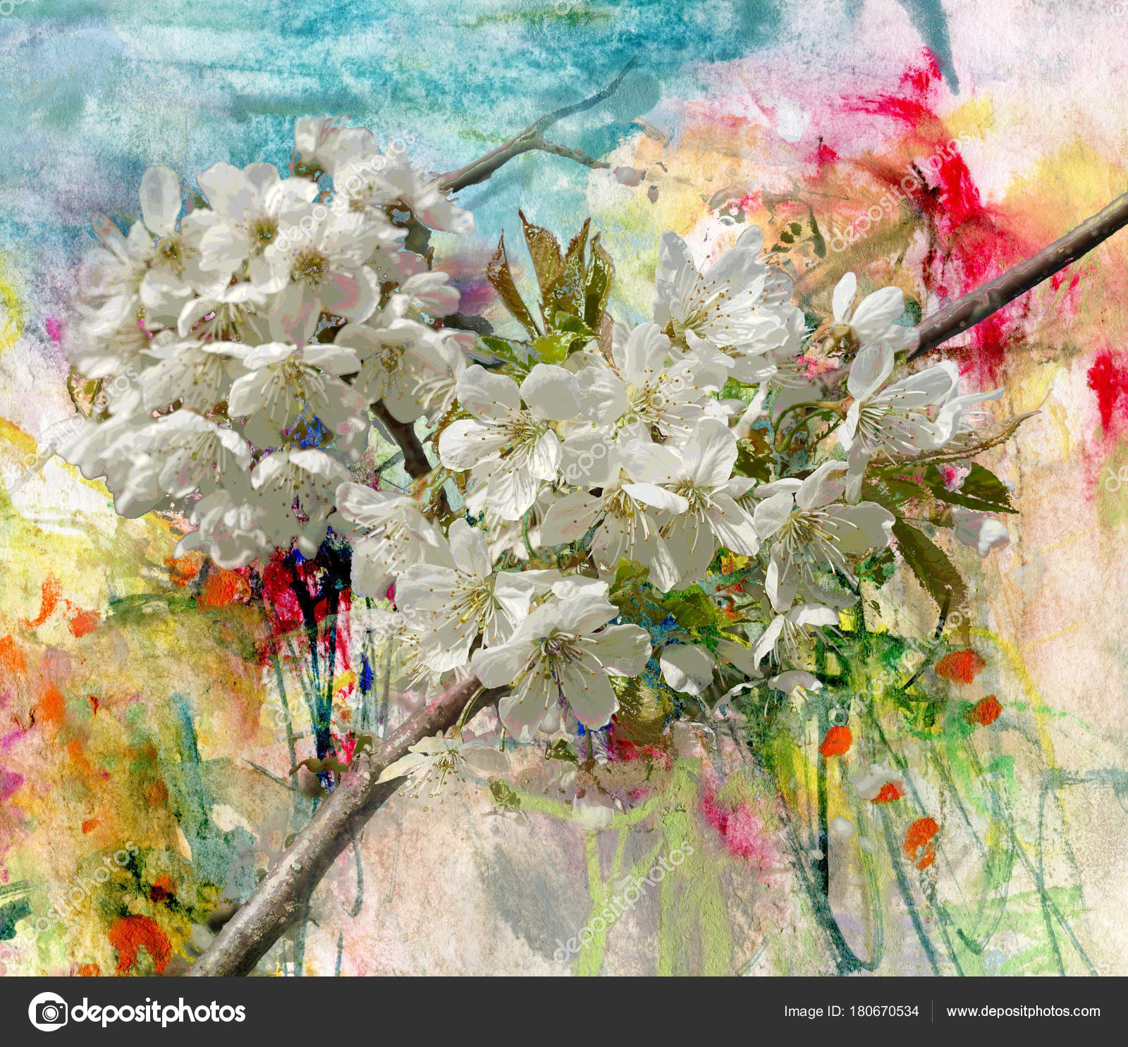 Blooming Apple Tree Painting And Combined Technique Stock Photo Image By C Kvocek 180670534