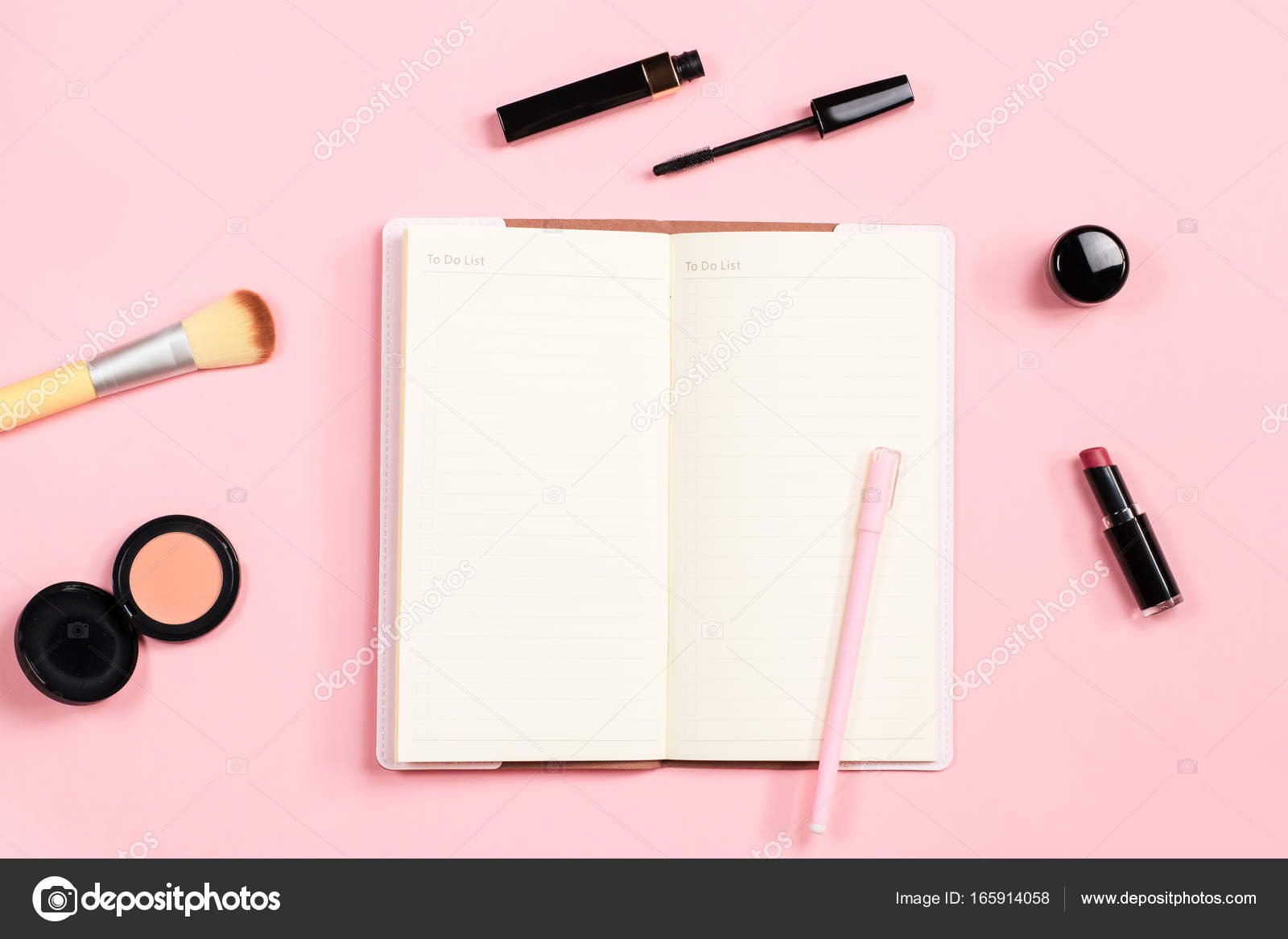Beauty blogger objects flat lay  Beauty products and stylish