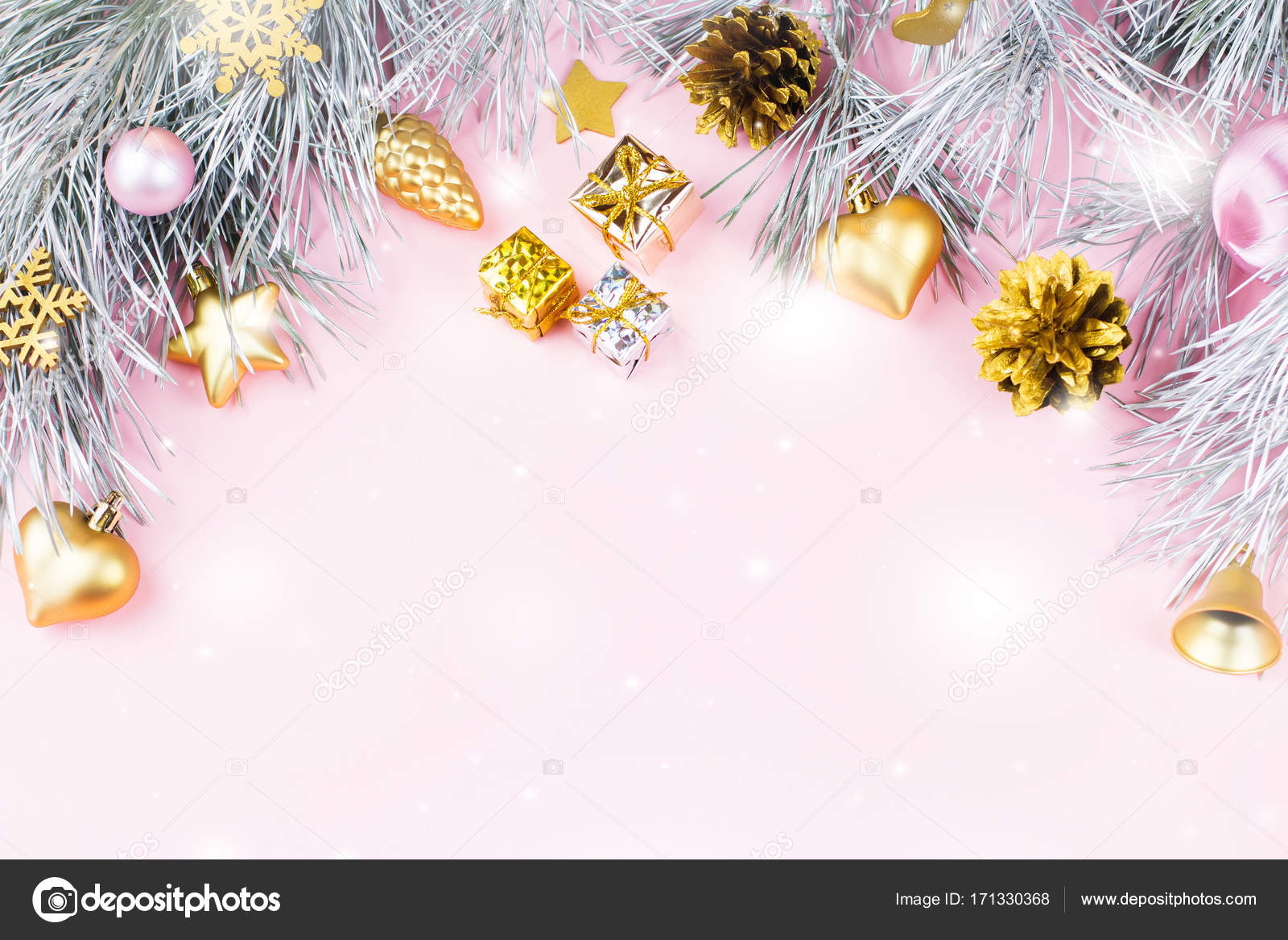 Pastel Christmas Ornaments.Christmas Border With Fir Branches Conifer Cones Christmas