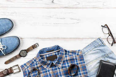 Fashion mens clothing and accessories in casual style flat lay, copy space