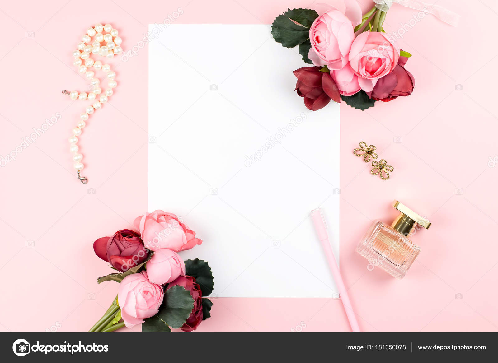 Card With Pen Jewelry Perfume Red And Pink Flowers Frame On