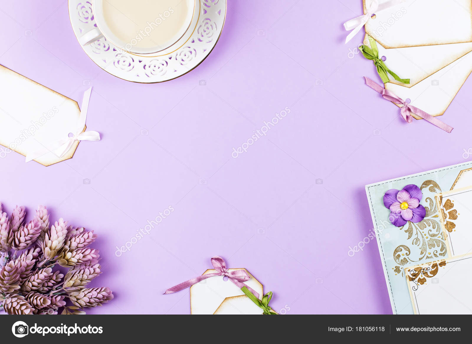 scrapbook background with decoration tea cup flowers on purple