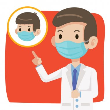 Doctor wearing protective surgical mask and advise people to wear surgical mask to protect against virus coronavirus Covid-19 - vector character