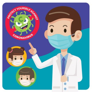 Doctor wearing protective surgical mask and told people to wear surgical mask to protect against virus coronavirus Covid-19 - vector character