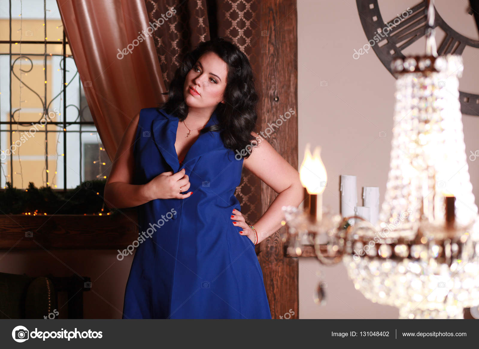 lady, rich woman, a beautiful interior, brunette in a penthouse, an