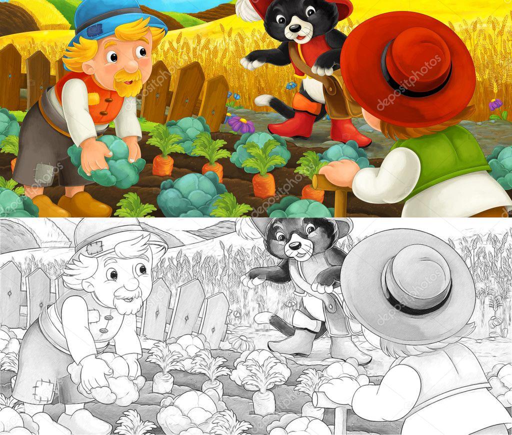 Escena de dibujos animados del gato y los agricultores en la ...