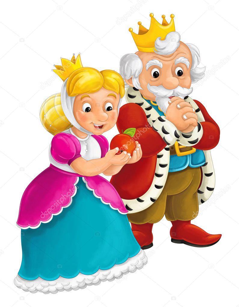 Escena Aislada Con Rey Y Reina Ilustración Para Los Niños De