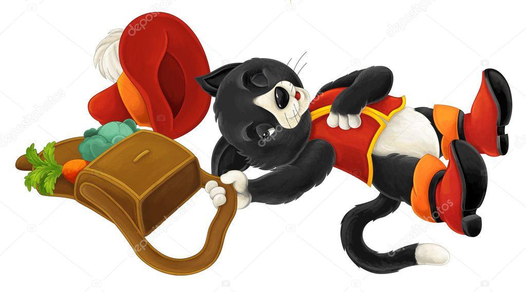 Cartoon cat - isolated - lying down pretending to sleep - illustration for children
