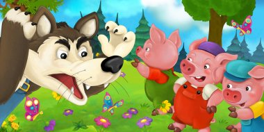Pigs and wolf on the meadow